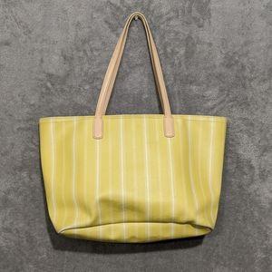 Coach yellow stripe tote bag